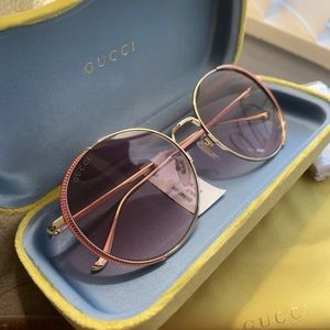 Authentic Gucci 56 Round Crystals Metal sunglasses